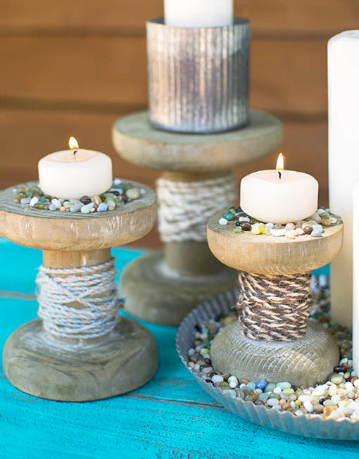 Wrap with colorful twine and scatter beach-inspired vase filler around and upon our pedestals to create a fresh setting for event candles!