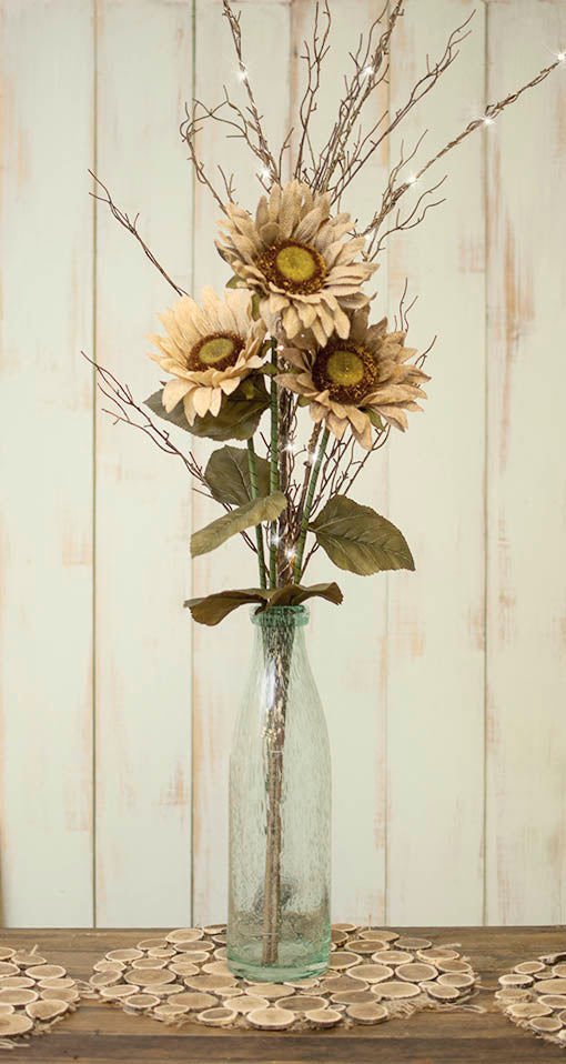 Combine our long-stem sunflower picks with our bubble glass vases and any of our lighted branches to handcraft a striking centerpiece! All items sold separately.