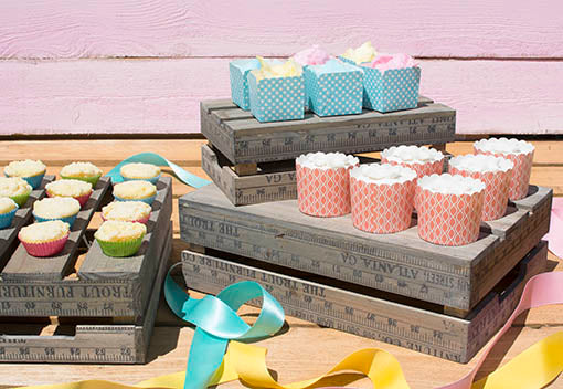 Give desserts a lift, using our set of charming crates to create a custom sweets display!