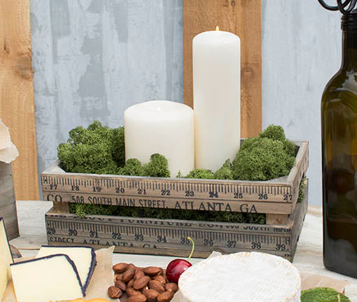 Fill these wooden trays with candles and natural moss to create a rustic, industrial or woodland vibe! All pieces sold separately.