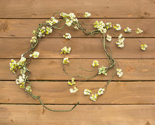 6 foot long Faux Viburnum Garland, Bendable, Green Vine with White Buds