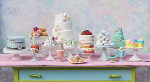 Adorn your event or wedding with the fun and vibrant look of our cake and candy displays!