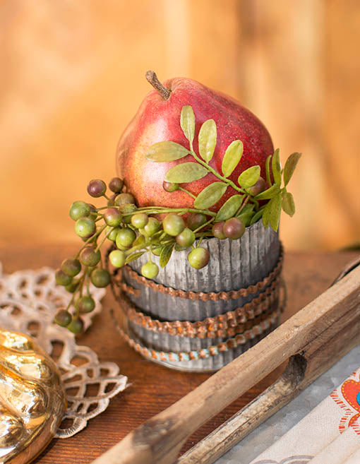 Pair with our corrugated tin vases and metal ribbons for an industrial chic addition to your centerpiece.