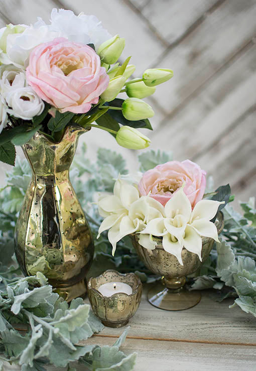 Our tulips are the perfect pop of color against our mercury glass vase, dusty miller branch, peonies and lilies.