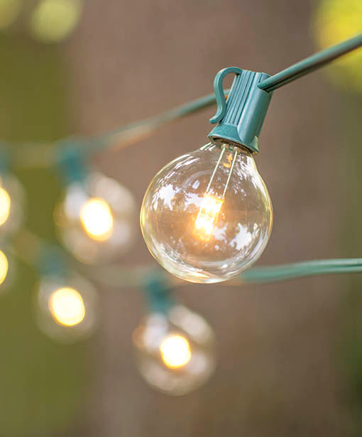 Our 100 foot green globe string light strand with warm white LED bulbs perfectly embellishes events and decor with its classic design.