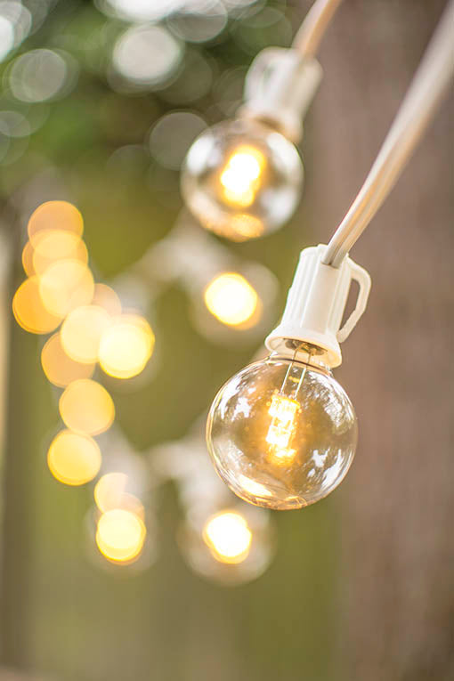 The C7 strand holds 100 G40 bulbs, each 1.5 inches in diameter with E12 bases, for the perfect energy efficient and long lasting string light.
