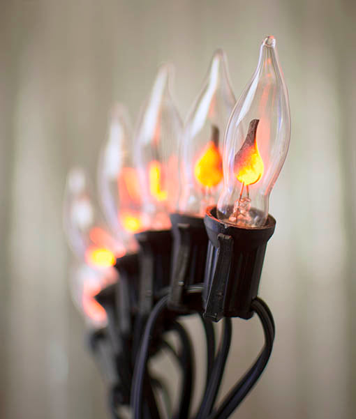 String Lights, Flickering Flame Bulb, 25 Ft Black Wire, Outdoor