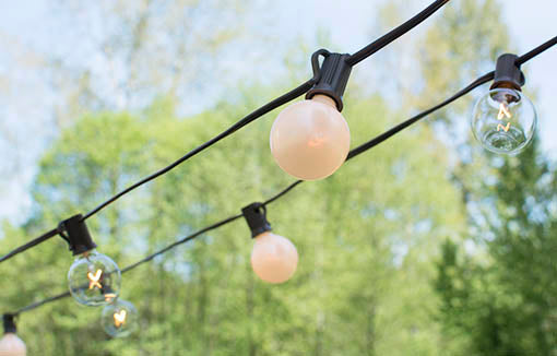 Duet Globe String Lights, 50 Ft C7 Brown Wire, G40 Bulb, Pearl & Clear