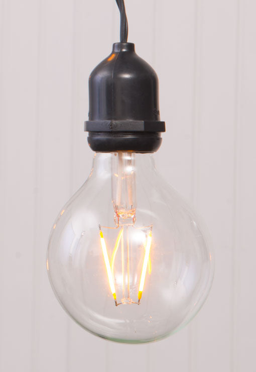 Commercial Drop Globe String Lights, Dimmable Vintage Style Warm White G80 LED Bulbs Included, Black Wire, 54 Feet