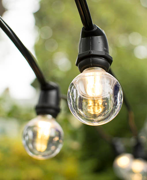 Durable warm white LED bulbs, each 1.5 inches in diameter, brighten in the 56 foot wire for perfect year round lighting.