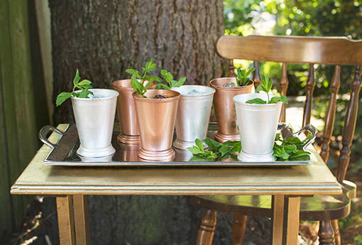 Combine the silver mint julep cup with its sister, the copper julep cup, to create a sophisticated display on our metal serving tray!