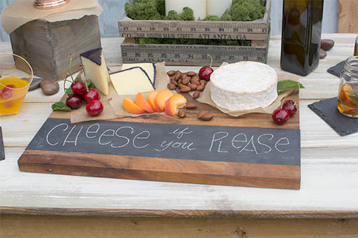 Show off your culinary skills by displaying your food on this rustic inspired cheese board!
