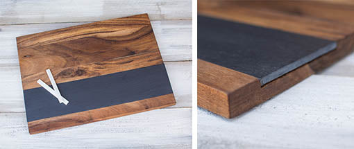 Each cheese board comes with two pieces of chalk to personalize your presentations!