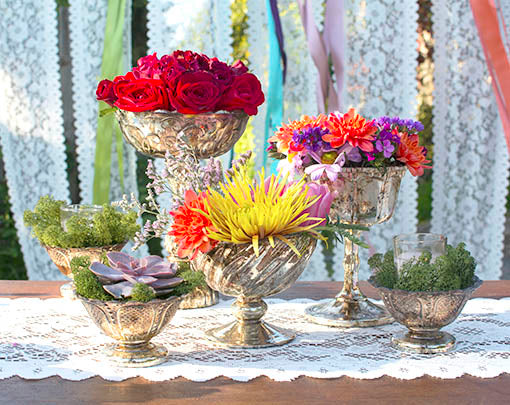 Varying heights and relief textures are a beautiful way to set eye-catching centerpieces. Combine our full collection of vintage, fairytale-inspired mercury glass for gorgeous results!