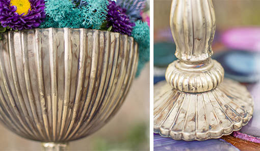 A fine ribbed glass bowl rests atop an elegant pedestal to hold your faux flowers, colorful mosses and more.