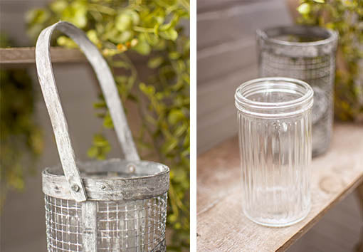 The functional handle allows this basket to hang from your display, and each jar is removable for easy cleaning.