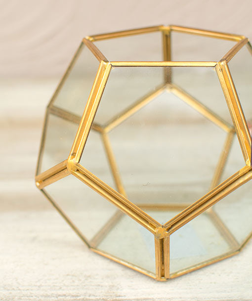 This 4.75 inch tall vase has a dodecahedron shape with one open side. Use this vessel to display your favorite flowers and buds in a moss filler.