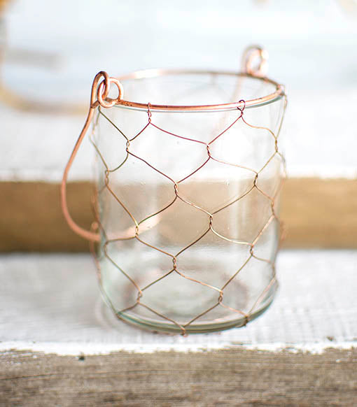 With the 3.5 inch tall wire hanger, easily add this holder to a table top shepherd hook for rustic chic restaurant lighting.