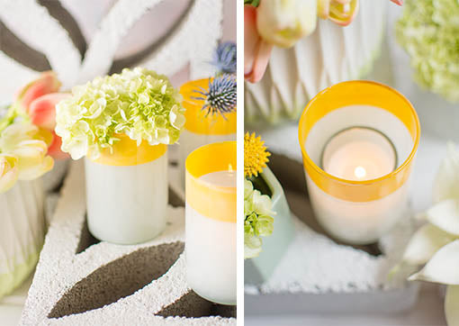 Create flourishing centerpieces by arranging our realistic hydrangeas in these vessels. Easily fit tea light or votive candles in each of these holders to add modern styled illumination to your event.