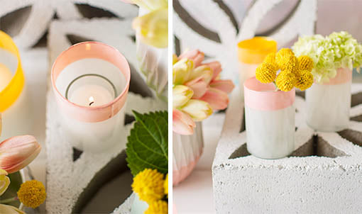 Add votive candles to these holders for modern illumination, or adorn each vase with decorative floral and filler flowers!