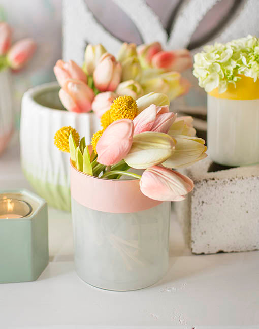 Abound this vase in decorative tulips and billy buttons in your garden wedding or spring bridal shower!
