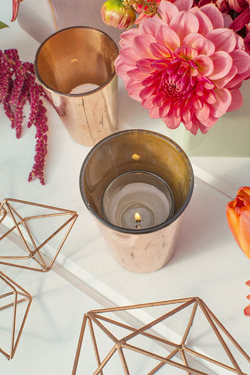 Glass Candle Holder with a copper plated finish
