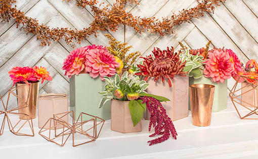 Create modern garden impressions for your tablescape with our pastel colored hexagonal vase collection! Highlight these ceramic planter pots with our copper vases, swag and ornaments.