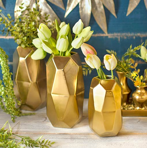 Add fresh florals to these vases with realistic pink and green tulips.
