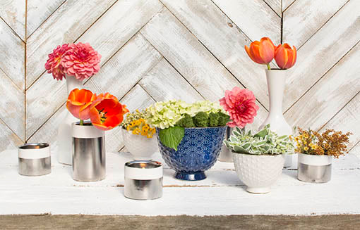 Create a fresh tablescape for your wedding or event by pairing our candle holder with white ceramic vases and textured planter pots!