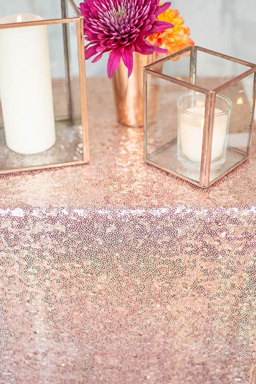Paired with copper table decor and glowing candles, your rose gold runners will reflect very well on your gathering!