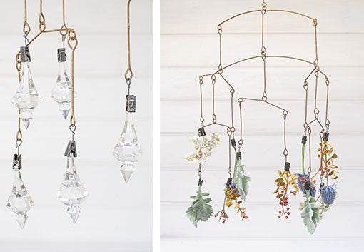 Add an elegant touch of clear chandelier drops to this mobile for your vintage wedding, or arrange sprigs and bud flowers on each clip for a fresh garden display.