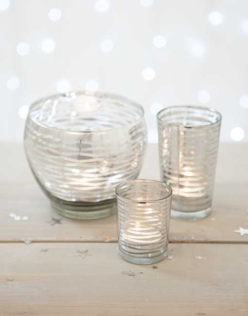 Silver Wavy Stripe Votive Candle Holder Collection
