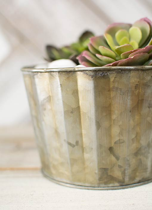 Place this ribbed vase alongside cork wrapped glass candle holders in your garden wedding, or arrange a tin footed pan full of succulents under this holder in your bistro.