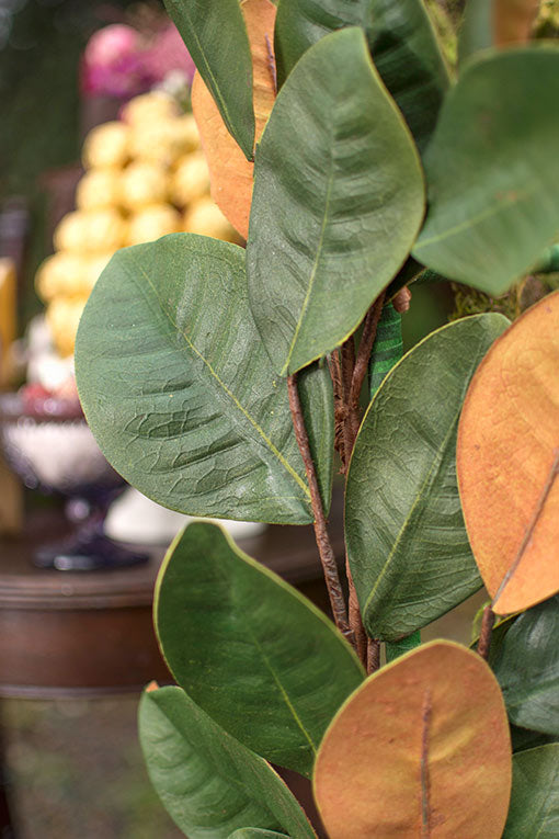 Lifelike texture defines our magnolia leaves, front and back.