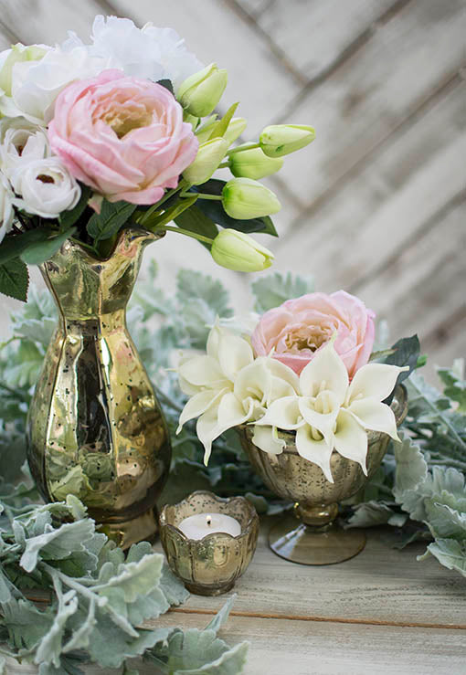 Combine this set with our gold compote, dusty miller, decorative tulips and roses for an romantic luxe tablescape.