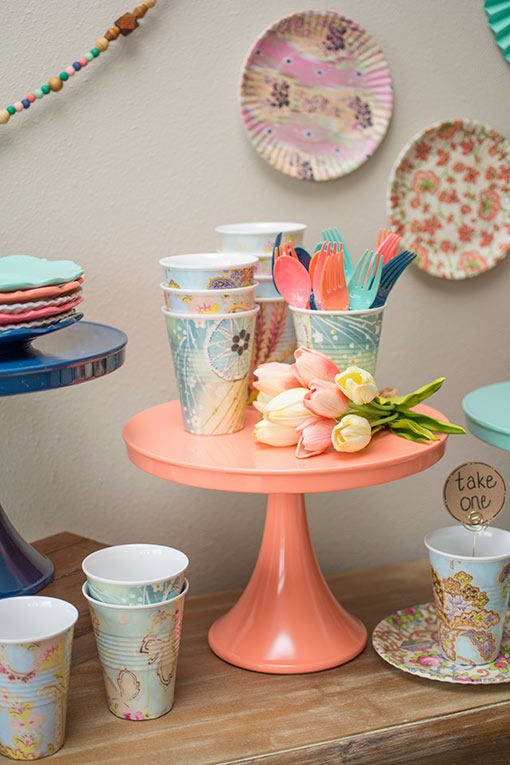 Simply rest a full bouquet within your decor scheme to add a pop of fresh appeal! Our patterned melamine cake and dessert ware are given the Sarah treatment on our blog, check it out!