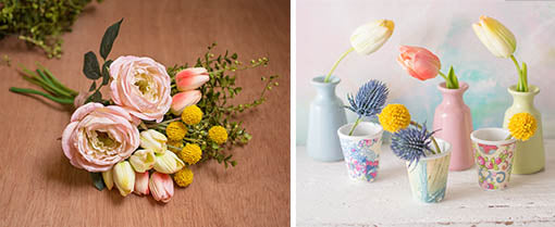 Embellish these tulip bouquets with pink roses, billy buttons and eucalyptus sprigs for a spring ready arrangement. Trim down each stem to place in bud vases or melamine cups as a garden party centerpiece.