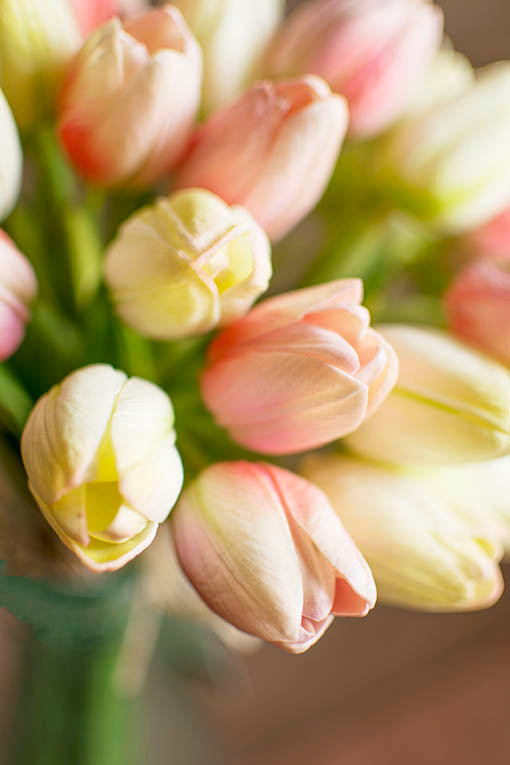 """These 15 inch """"real feel"""" flowers are detailed to emulate actual tulips and are made with high quality material that is long lasting and will stay forever fresh in your displays."""