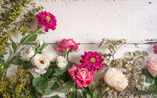 Fill your home, event or wedding with the lifelike and high quality details of our zinnia, roses, peonies, parsley and eucalyptus.