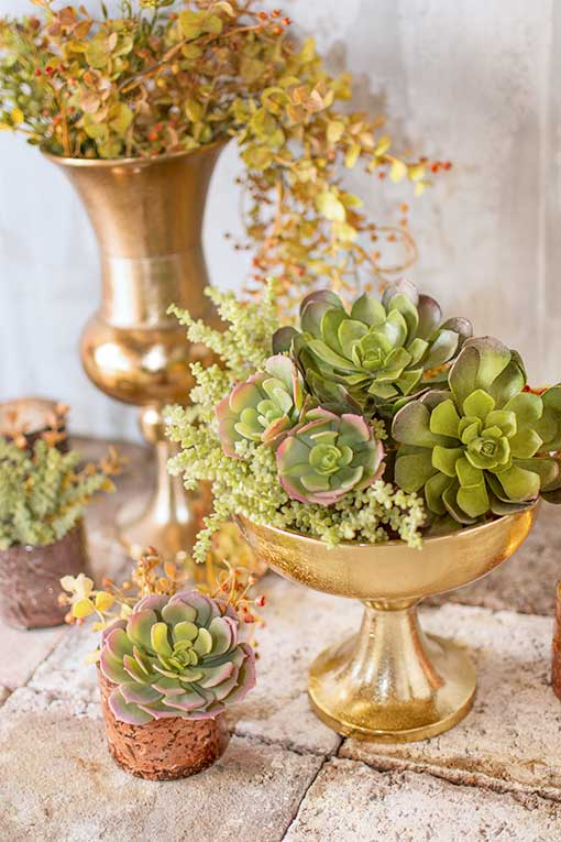Combine this succulent rosette with our other succulents in gold compotes and vases for your hotel venue displays.