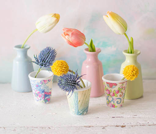 Trim the stems down of our thistle, billy buttons and tulips to place into bud vases and melamine cups for a vintage shabby tea party.