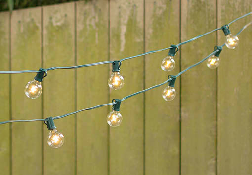 LED Globe Lights on a Green Wire