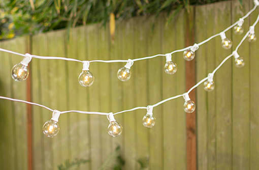LED Glass Globe Lights on a White Wire