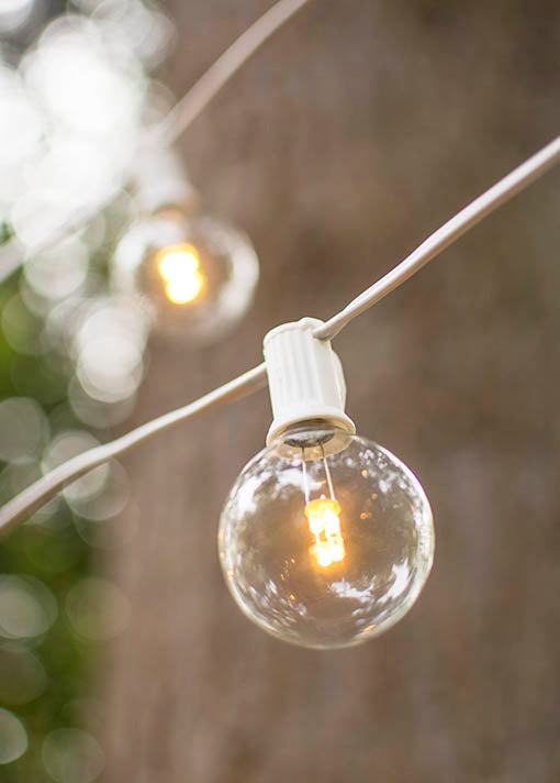 White Wire LED Glass Globe Lights