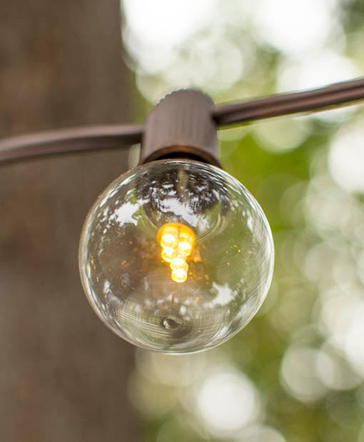 LED Globe Lights on a Brown Wire