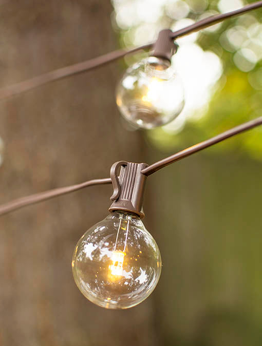 LLED Globe Lights on a Brown Wire