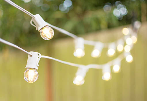 This 25 foot white wire houses 25 shatter resistant acrylic G30 bulbs that are durable and energy efficient.