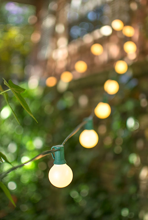Globe String Lights, 1.5 Inch E12 Bulbs, 75 Foot Green Wire C7 Strand, Pearl White