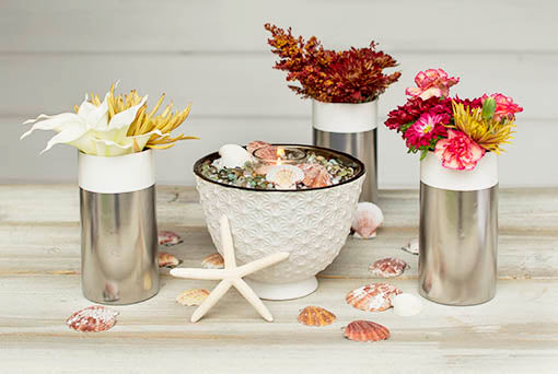 Create a beach side escape in your home or event by adding floral bouquets, seashell table scatter and our sea urchin vase to our set of 4 candle holders.