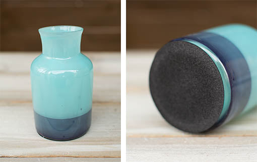 The thin foam base of our painted glass bottle bud vase adds to the bottle's stability and prevents scratches on delicate surfaces.